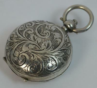 Antique Solid Silver Floral Engraved Pattern Sovereign Holder Heart Cartouche