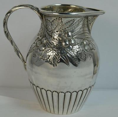 1866 Victorian Solid Silver Cream or Milk Jug with Fruit Berry Design