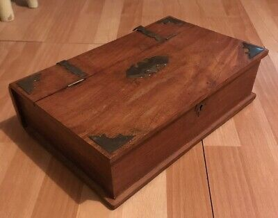 Antique Wood Box With Brass Details Made to Look Like Book Old Bible with Key
