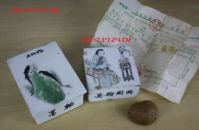 2 Chinese porcelain ink paste square boxes LADY, FISH DECO, 19/20 Th century