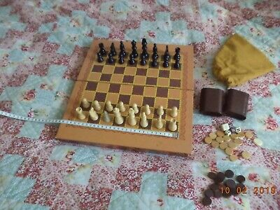 Large chess and backgammon set with wooden pieces