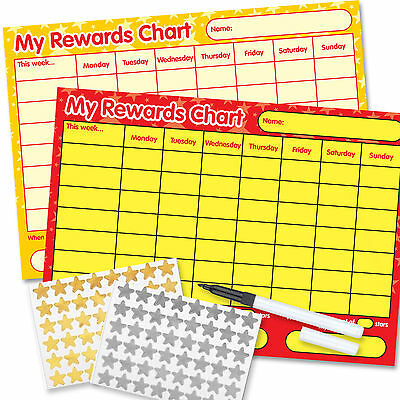 2 Re-usable Reward Chart (including FREE Stickers and Pen) yellow/red twin pack