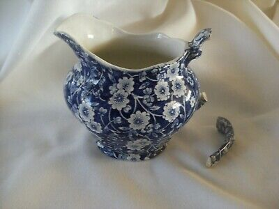 Vintage Royal Crownford Blue Calico Staffordshire Creamer Pitcher  Needs Repair