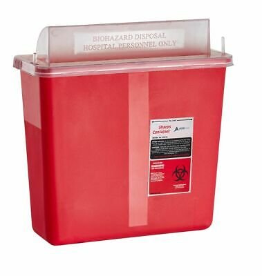 AdirMed Sharps Container Biohazard Needle Disposal Mailbox Style Lid 5 Quart