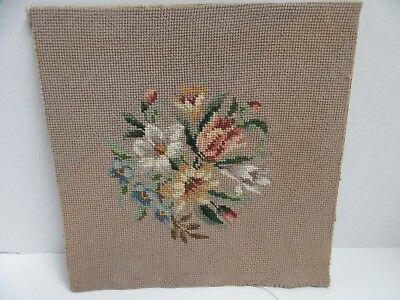Finished Needlepoint Floral Bouquet Rose Bud Completed 12x12 Vintage