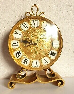 Vintage Gilt Brass IMHOF 15 Jewels 8 Day Mantle Clock - Swiss Made - 25cm high