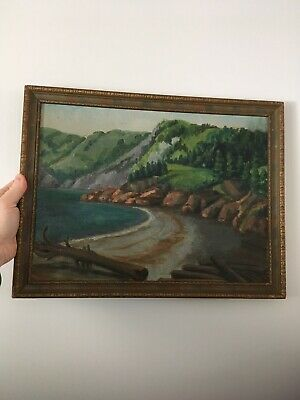 M Semple 1939 Vintage Oil on Board Landscape Painting Trees Mountains Lake
