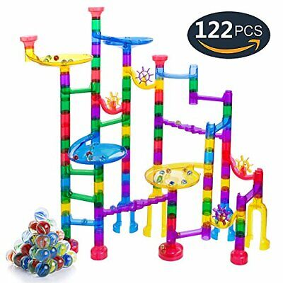 Gifts2U Marble Run Sets Kids, 122 PCS Marble Race Track Game 90 Translucent M...