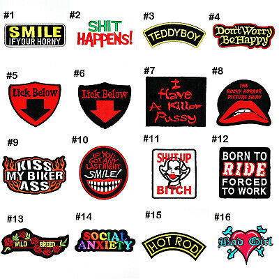 Biker Chopper Rock Punk Adult Sexy Funny Joke Quote Clothing Jeans Iron on Patch