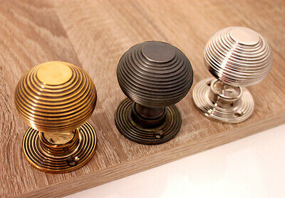 Antique Style Period Solid Brass Reeded Beehive Door Knob various finishes