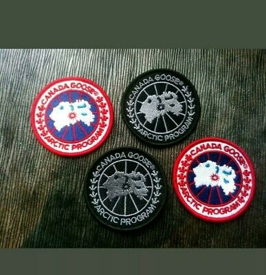 4 X Canada Goose Replacement Embroidery Patches 60mm GHOST BLACK + RED