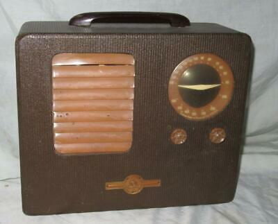 Emerson Model FU-427 Portable Radio, AM, Leather Case, Restored & Working