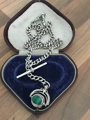 Fine Antique Solid Silver Albert Pocket Watch Chain & Spinning Fob Multi Gem 58g