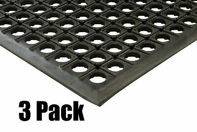 "(3) Erie Tools 2x3 Rubber Drainage Floor Mat 24"" x 36"" Anti-Fatigue Anti-slip"