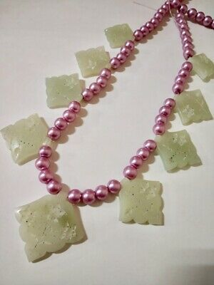 100% NATURAL NEPHRITE JADE MUGHAL STYLE NECKLACE 9 pcs set