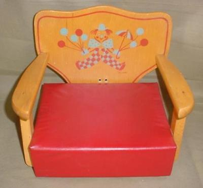 Vintage1950's 60's CHILD'S  Wood Booster Seat Clown Balloons DESIGN MID-CENTURY