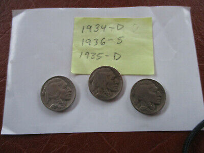 1934-D,1935-D And 1936-S Buffalo Nickels