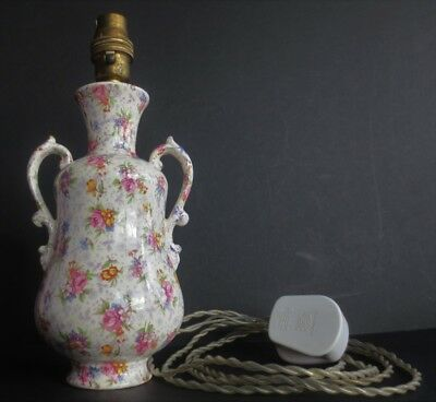 Royal Winton Chintz Table Lamp Gloria Eleanor Shabby Chic Vtg Light Pink Flowers