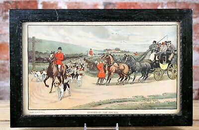 Antique English Fox Hunt Scene Arts & Crafts Print By Truth Co. Orig Frame