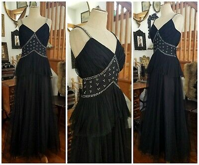 Vintage 1930s 1940s Black Net and Rhinestone Strap Dress Gown Glamorous Antique