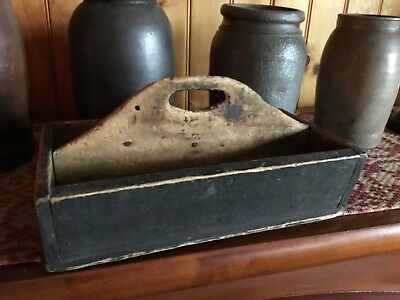 early primitive old wooden tote super nice prim piece! Old chippy paint!