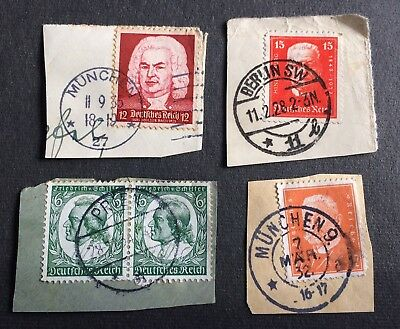 German Empire 20s & 30s - 5 used stamps on paper with nice cancellation