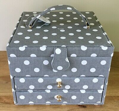 SEWING BOX BASKET Grey Spot with 2 Drawers Large Size FABULOUS DESIGN & QUALITY