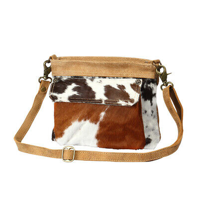 Vintage Bygone Hairon Cowhide Shoulder Bag-Purse with Hairon Cowhide + Leather
