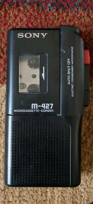 Sony Handheld Microcassette-Corder M-427 Black Cassette Recorder Tested-Works!