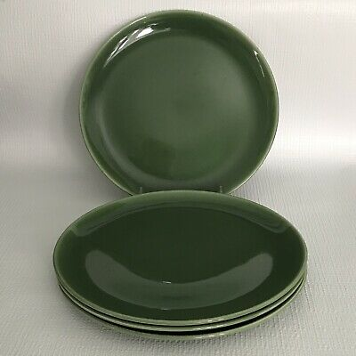 "Vintage Universal Oven Proof Ballerina Green Plates 9 1/8"" Luncheon Dinner (4)"