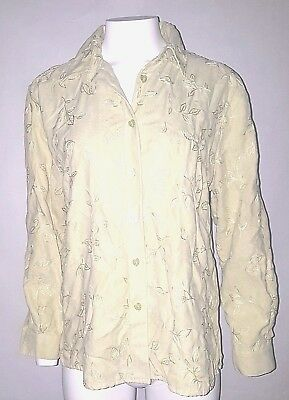 aa40e222e1 Drapers and Damons Petites Top Light Green Embroidered Leaves Button Womens  PL