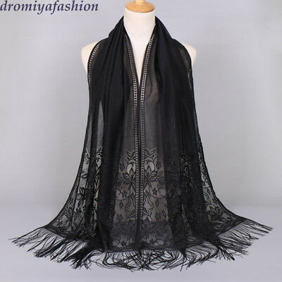 Muslim Scarf Lace Hijab Tassel Wrap Shawls Headwear Women Long Scarves Turban