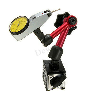 Dial Test Indicator Gauge Scale  + Flexible Magnetic Base Holder Stand Tool !