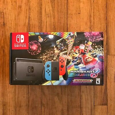 New Nintendo Switch with Mario Kart 8 Deluxe Console Bundle - Neon Blue/Red