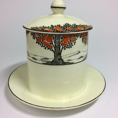 Art Deco * CROWN DUCAL WARE * Preserve Pot with Lid * Orange Tree Pattern