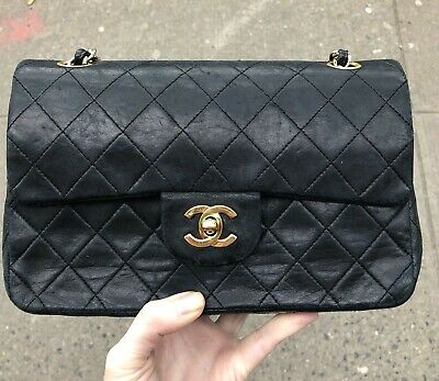 Chanel Vintage Black Lambskin Leather Small Double Flap Bag w  Gold Hardware 5f96f2796547a