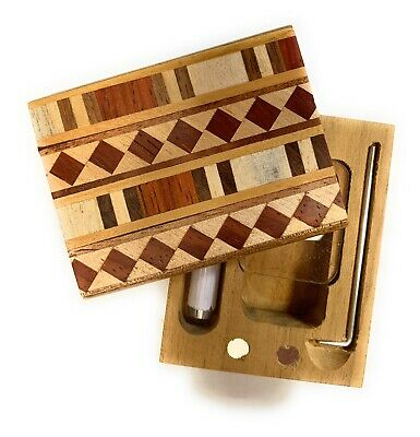 "2"" Dugout Box / One Hitter Wood Side Slide With Aluminum Cigarette and Poker"