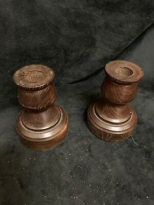 Pair Of Chunky Vintage Turned Wood  Candle Sticks