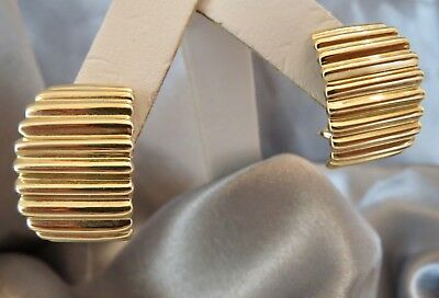 """14K Yellow Gold Ribbed Pierced EARRINGS 7/8""""L X 15mm Wide 11.3 grams VERY NICE!"""