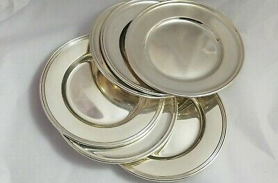 """Set of 6 Old French Sterling Silver Bread & Butter Plates by Gorham 6""""  (#6083)"""