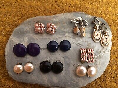 Job Lot Of Nine Pairs Of Vintage Clip on Earrings