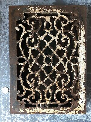 Vintage Ornate Victorian cast iron floor register heat grate 8x12
