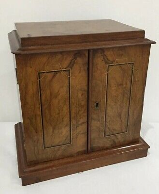 Victorian Inlaid Walnut Tabletop Cabinet With Three Drawers
