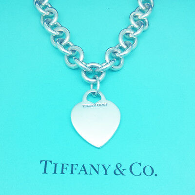 Tiffany & Co Necklace Solid Sterling Silver Blank Heart Heavy Link Necklace