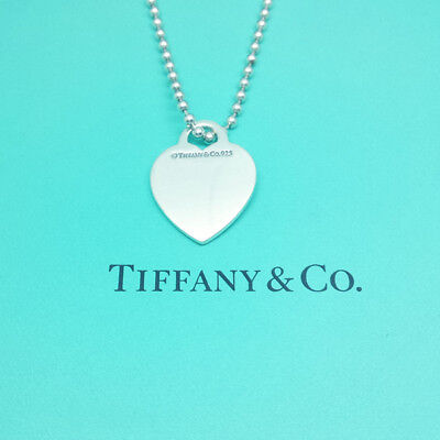 "Tiffany & Co Solid Sterling Silver Blank Heart Charm 34""  Beaded Chain Necklace"