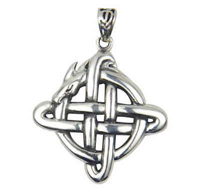 Sterling Silver Celtic Dragon Knot Pendant Peter Stone .925 TPD4041
