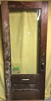 Antique Arts & Crafts Wood Exterior French Entry Door /w Beveled  Glass 34x80