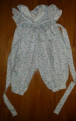 Carriage Boutiques Toddlers Floral Smocked Romper Size 6 Month