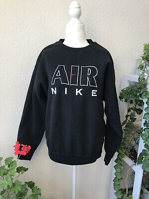 Vintage Nike Air Sweatshirt Crew Neck Pull Over Retro Logo Black Oversized M