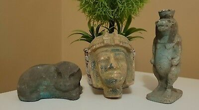 ANCIENT EGYPTIAN ANTIQUES Rare 3 Statues Egypt Faience Stone 300 BC